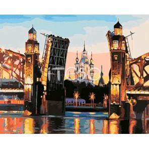 Большеохтинский мост Раскраска (картина) по номерам акриловыми красками на холсте Iteso