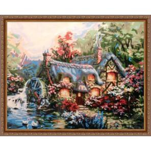 Домик с мельницей Раскраска картина по номерам акриловыми красками Plaid