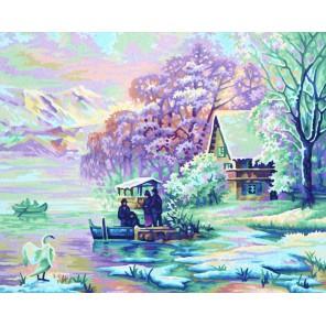 Горное озеро зимой  Раскраска по номерам Schipper (Германия)