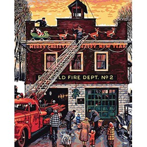 Рождество на пожарной станции (художник Стеван Доханос) Раскраска картина по номерам акриловыми красками Plaid