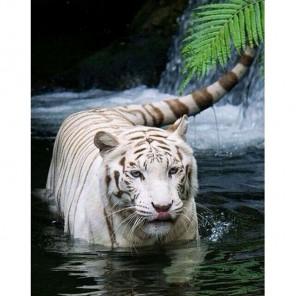 Белый тигр в воде Алмазная вышивка (мозаика) Гранни