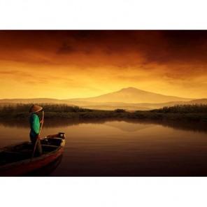 Лодка на закате Алмазная вышивка (мозаика) Гранни