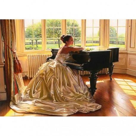 Пианистка Алмазная вышивка (мозаика) Гранни