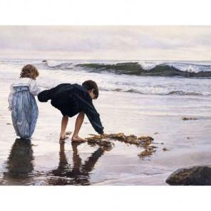 Дети у моря Алмазная вышивка (мозаика) Гранни