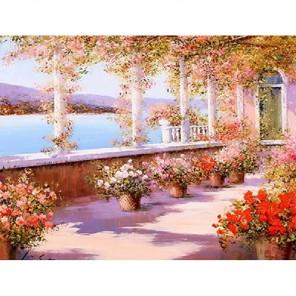 Цветущая терраса Алмазная вышивка (мозаика) Гранни