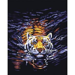 Плывущий тигр Алмазная вышивка (мозаика) на подрамнике Color Kit