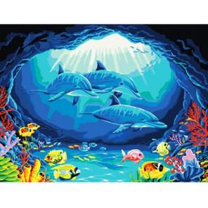 Дельфины Алмазная частичная вышивка (мозаика) Color Kit