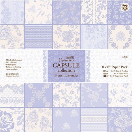 French Lavender Набор бумаги 20х20 см для скрапбукинга, кардмейкинга Docrafts
