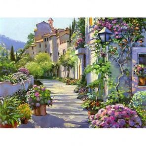 Цветущая улица Алмазная вышивка (мозаика) Гранни