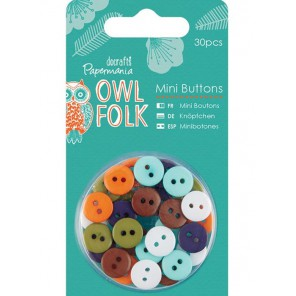 Owl Folk Набор мини пуговиц Docrafts