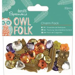 Owl Folk Набор пуговиц и декоративных элементов Docrafts