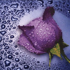 Сиреневая роза Алмазная частичная вышивка (мозаика) Color Kit