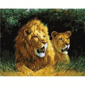 Львиная семья Алмазная вышивка (мозаика) на подрамнике Color Kit