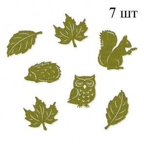 Лесные обитатели зеленые Набор из фетра декоративные элементы для скрапбукинга, кардмейкинга Efco