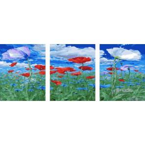 Под небом голубым Триптих Раскраска по номерам акриловыми красками на холсте Color Kit