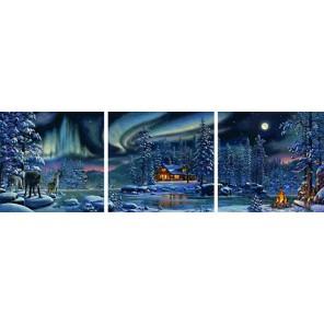 Северное сияние Триптих Раскраска по номерам акриловыми красками на холсте Color Kit