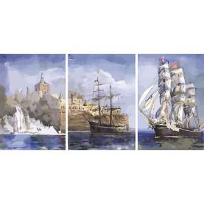 Морской пейзаж Триптих Раскраска по номерам акриловыми красками на холсте Color Kit