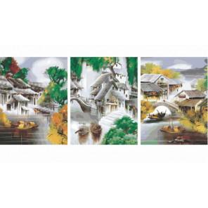 Китайская деревня Триптих Раскраска по номерам акриловыми красками на холсте Color Kit