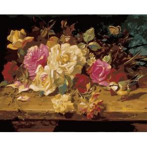 Натюрморт с розами ( художник Ханц Зацки ) Раскраска (картина) по номерам акриловыми красками на холсте Menglei
