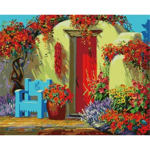 Дворик в цветах ( художник Микки Сенкарик ) Раскраска (картина) по номерам акриловыми красками на холсте Menglei