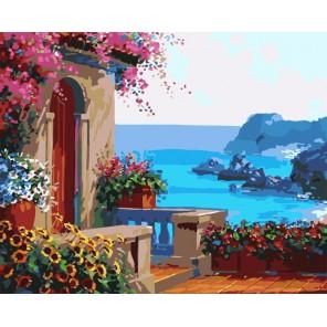 Крыльцо у моря ( художник Микки Сенкарик ) Раскраска (картина) по номерам акриловыми красками на холсте Menglei