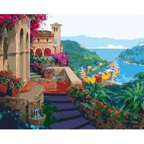 Лазурный рай ( художник Микки Сенкарик ) Раскраска (картина) по номерам акриловыми красками на холсте Menglei