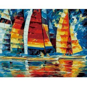 Парусники ( художник Леонид Афремов ) Раскраска (картина) по номерам акриловыми красками на холсте Menglei