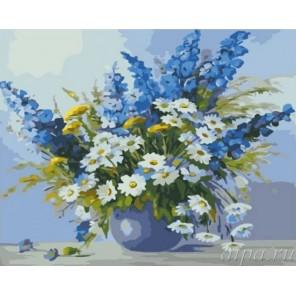 Ромашки и васильки Раскраска (картина) по номерам акриловыми красками на холсте