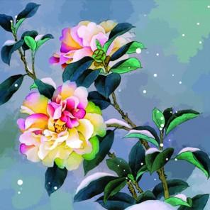 Снежный пион Раскраска по номерам акриловыми красками на холсте Color Kit