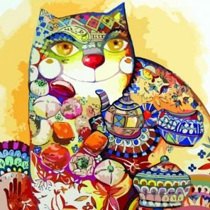 Чайный кот Раскраска по номерам акриловыми красками на холсте Color Kit