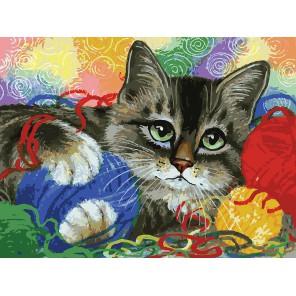 Котик с клубочками Раскраска ( картина ) по номерам акриловыми красками на холсте Белоснежка