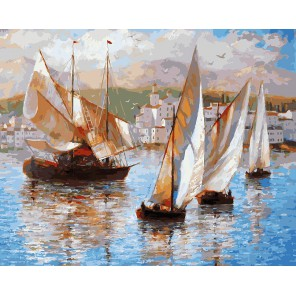 Морская прогулка по Италии Раскраска ( картина ) по номерам акриловыми красками на холсте Белоснежка