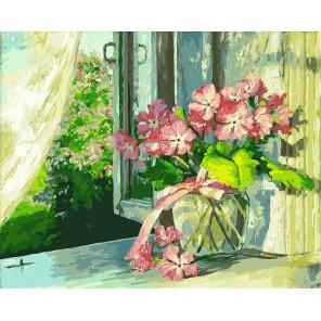 Букет на окне Раскраска ( картина ) по номерам акриловыми красками на холсте Белоснежка