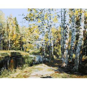 Березы у пруда Раскраска ( картина ) по номерам акриловыми красками на холсте Белоснежка