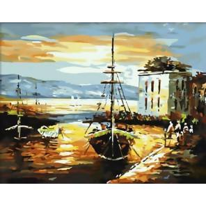 Рыбацкий баркас Раскраска ( картина ) по номерам акриловыми красками на холсте Белоснежка