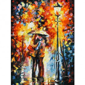 Поцелуй под дождем Раскраска ( картина ) по номерам акриловыми красками на холсте Белоснежка