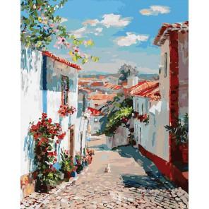 Улочка в португальском поселке Раскраска ( картина ) по номерам акриловыми красками на холсте Белоснежка