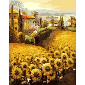 Подсолнухи Прованса Раскраска ( картина ) по номерам акриловыми красками на холсте Белоснежка