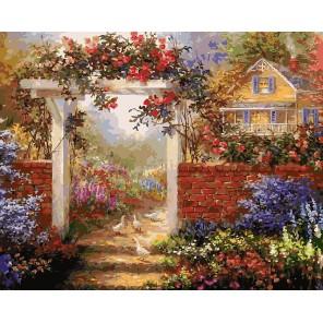 Цветущая усадьба Раскраска ( картина ) по номерам акриловыми красками на холсте Белоснежка
