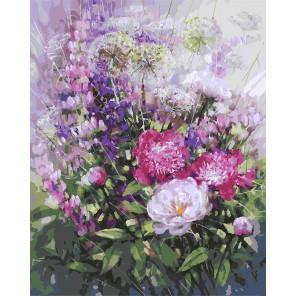 Пионы и люпины Раскраска ( картина ) по номерам акриловыми красками на холсте Белоснежка