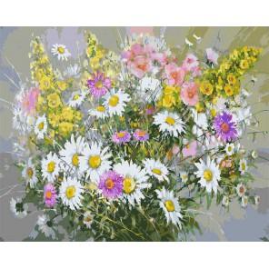 Букет с ромашками Раскраска ( картина ) по номерам акриловыми красками на холсте Белоснежка