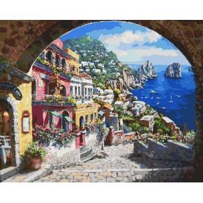 Лестница к морю Раскраска ( картина ) по номерам акриловыми красками на холсте Белоснежка