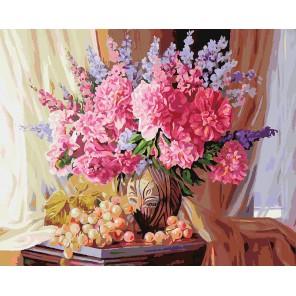 Виноградно-пионовое Раскраска ( картина ) по номерам на холсте Белоснежка