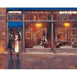 За витриной вечернего кафе  (художник Брент Линч) Раскраска по номерам акриловыми красками на холсте Живопись по номерам
