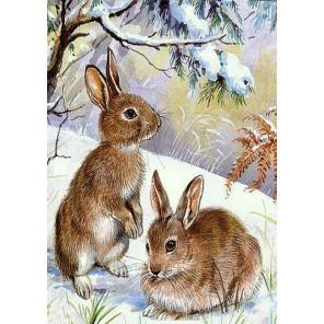 Зайчата на снегу Алмазная вышивка (мозаика) Гранни