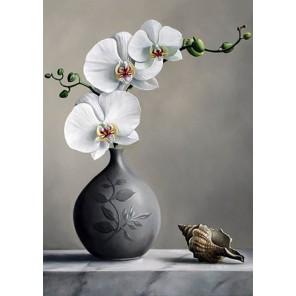 Белая орхидея Алмазная вышивка (мозаика) Гранни