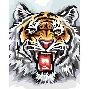 Тигр Раскраска ( картина ) по номерам акриловыми красками на холсте Белоснежка