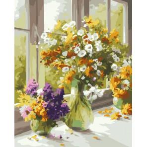 Утренние букеты Раскраска ( картина ) по номерам акриловыми красками на холсте Белоснежка
