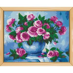 Розы в вазе Алмазная вышивка (мозаика) на подрамнике Цветной