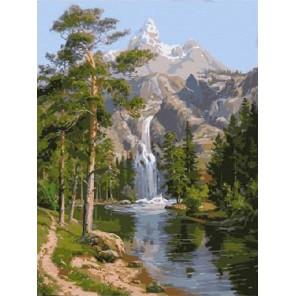Водопад в горах Раскраска (картина) по номерам акриловыми красками на холсте Molly